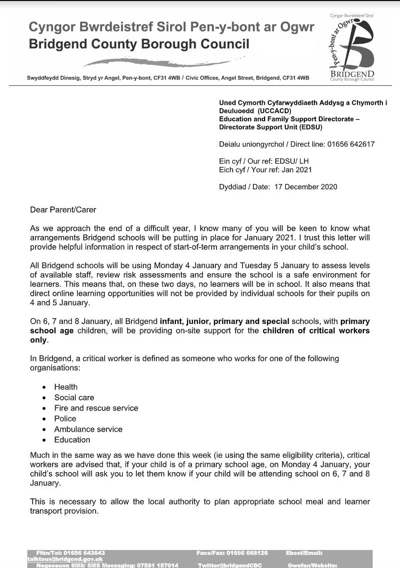 Arrangements for Bridgend Schools – January 2021