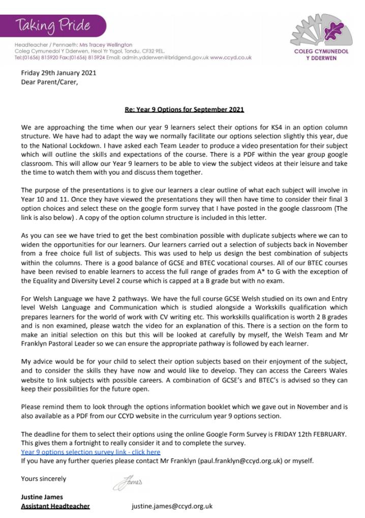 Letter For Parents 29/01/21